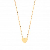 Gold Plated Plain Petite Love Heart Pendant Necklace