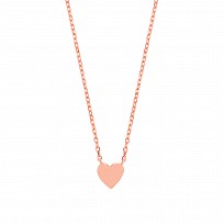 Rose Gold Plated Plain Petite Love Heart Pendant Necklace