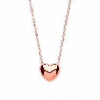 Silver Necklace With Rose Gold Heart Pendant