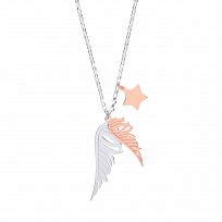Silver & Gold Plated Angel Wings & Star Necklace