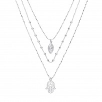 Silver Triple Bead Chain With Evil Eye & Hamsa Pendants