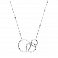Silver Interlocking Triple Circle Bead Necklace