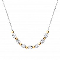 Silver & Gold Plated Diamond Cut Bead Pendant Necklace