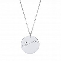 Silver CZ Pave Set Constellation Pendant Necklace
