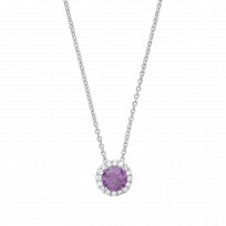 Silver Necklace With CZ & Amethyst Round Fancy Pendant