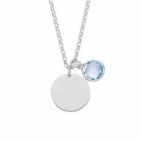 Silver March Aquamarine Birthstone Disc Pendant Necklace