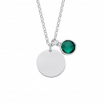 Silver May Emerald Birthstone Disc Pendant Necklace