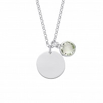 Silver August Peridot Birthstone Disc Pendant Necklace