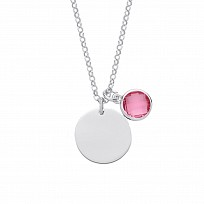 Silver October Pink Tourmaline Birthstone Disc Necklace