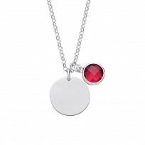 Silver July Ruby Birthstone Disc Pendant Necklace