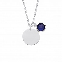 Silver September Sapphire Birthstone Disc Pendant Necklace