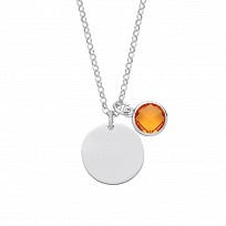 Silver November Topaz Citrine Birthstone Disc Necklace