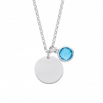Silver December Tanzanite Zircon Turquoise Disc Necklace
