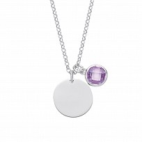 Silver June Violet Birthstone Disc Pendant Necklace
