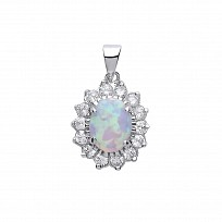 Silver CZ Cluster Pendant With A Oval Opal Stone Centre