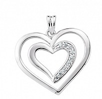 Silver Cubic Zirconia Double Love Open Heart Pendant