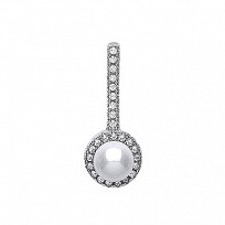 Silver CZ & Pearl Fancy Drop Pendant
