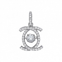 Silver CZ Double C Floating Stone Pendant