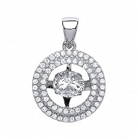 Silver CZ Round Floating Stone Pendant