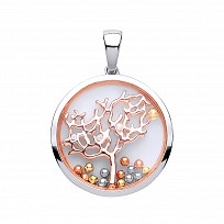 Silver & Rose Gold Sapphire Glass CZ Tree Of Life Pendant