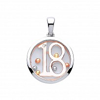 Silver & Rose Gold Sapphire Glass '18' Pendant