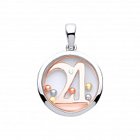 Silver & Rose Gold Sapphire Glass '21' Pendant