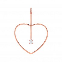 Rose Gold Plated Fancy CZ Heart & Line Pendant