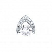 Silver CZ Pave Set Fancy Pendant With Floating CZ Stone