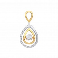 Silver & Gold Plated Floating CZ Pear Shape Pendant