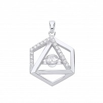 Gold Plated Floating CZ Hexagon Double Link Pendant
