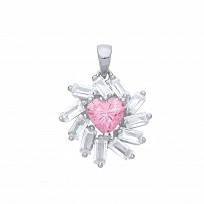 Rose Gold CZ & Pink Heart Fancy Pendant
