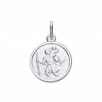 Silver Rhodium Plated Small St Christopher Pendant