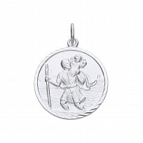 Silver Rhodium Plated Large St Christopher Pendant