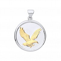 Silver & Gold Plated Eagle Disc Pendant