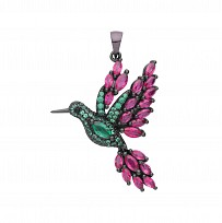 Silver Ruby & Emerald Flamingo Pendant