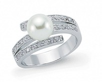 Silver Pearl & CZ Dress Ring