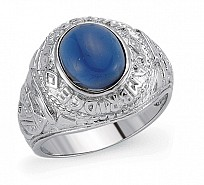 Silver Gents College Ring With A Sapphire Stone Centre
