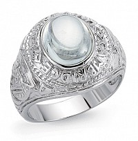 Silver Gents College Ring With A White Stone Centre