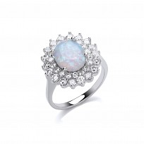 Silver Oval White Opal CZ Cluster Ring