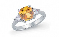 Silver Canary Topaz Princess Cut Ring With CZ Sides