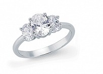 Silver CZ 3 Stone Trilogy Dress Ring