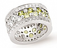 Silver Full Eternity CZ Ring with Jonquil CZ's