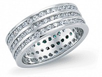 Silver CZ Three Row Full Eternity Ring (RD1.5)
