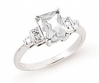 Silver Solitaire Ring With CZ Accents
