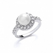 925 SILVER PEARL & WHITE RING