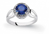 Silver Cubic Zirconia Sapphire Rounds Engagement Ring