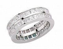 Silver CZ 2 Row Princess Channel Set Ring