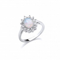 Silver Rhodium Plated White  Opal Cubic Zirconia Ring