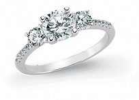 Silver CZ Micro Pave 3 Stone Ladies Ring