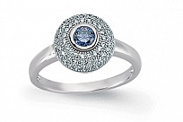 Silver CZ Round Sapphire Ring With Micropavé Surroundings